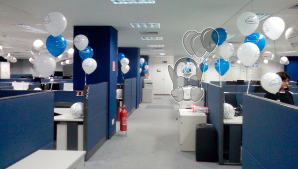 Decorações com balões em Estação de Trabalho